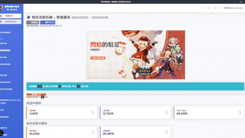 原神祈願卡池分析 Genshin Impact Wish Gacha Analyzer (PC 版),不用在手動計算保底啦! - 封面圖
